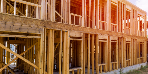 Wood Building frame at Multi-Family Housing Construction